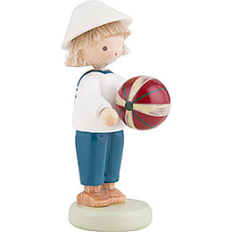 Flax Haired Children Boy with Ball - 5 cm / 2 inch