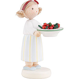 Flax Haired Children Girl with Cherries - 5 cm / 2 inch