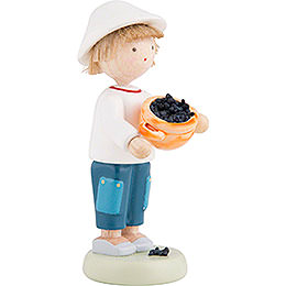 Flax Haired Children Boy with Blueberries - 5 cm / 2 inch