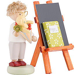 Flax Haired Children Boy with Candy Cone, Blackboard and Reader - 5 cm / 2 inch