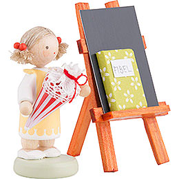 Flax Haired Children Girl with Candy Cone, Blackboard and Reader - 5 cm / 2 inch