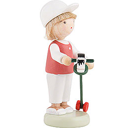 Flax Haired Children Boy with Hobby Horse - 5 cm / 2 inch