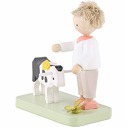 Flax Haired Children Boy with Little Calf - 5 cm / 2 inch