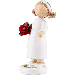 Flower Fairy Girl with Rose, Red - 5 cm / 2 inch