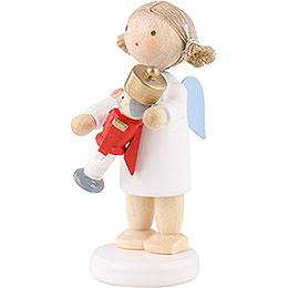 Flax Haired Angel with Nutcracker - 5 cm / 2 inch