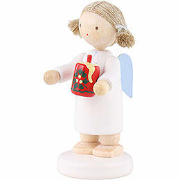 Flax Haired Angel with Christmas Candle - 5 cm / 2 inch