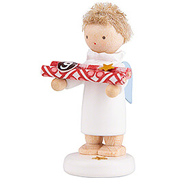 Flax Haired Angel with Present Paper (9) - 5 cm / 2 inch