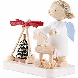 Flax Haired Angel with Pyramid and Thuringian Horse - 5 cm / 2 inch