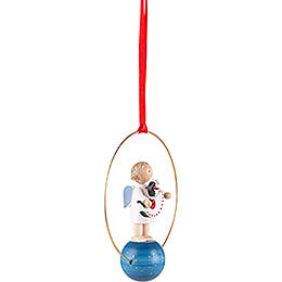 Tree Ornament - Angel with Rocking Horse - 7 cm / 2.8 inch