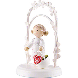 Flax Haired Children - Birthday Child with Mushrooms - 7,5 cm / 3 inch