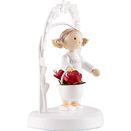 Flax Haired Children - Birthday Child with Amaryllis - 7,5 cm / 3 inch