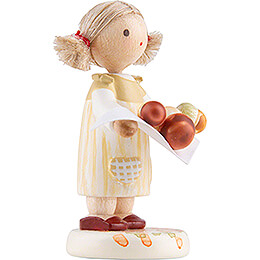 Flax Haired Children Little Girl with Ceps - Edition Flade & Friends - 4,5 cm / 1.8 inch
