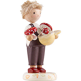 Flax Haired Children Boy with Toadstools - Edition Flade & Friends - 4,5 cm / 1.8 inch