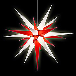 Herrnhuter Moravian Star I8 White/Red Paper - 80cm/31 inch