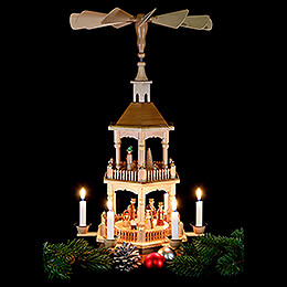 2-Tier Pyramid - Nativity, Natural with Dark Roof 52 cm / 20.5 inch