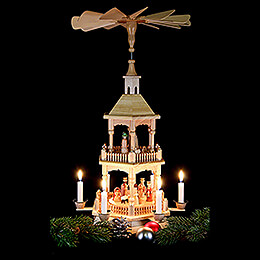 2-Tier Pyramid - Nativity, Natural with Light Roof 52 cm / 20.5 inch