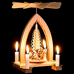 1-Tier Pyramid - Christmas Motive - Natural - 26 cm / 10.2 inch