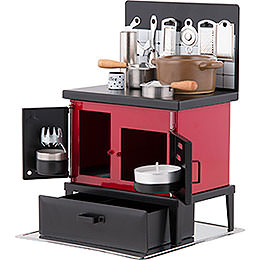 Smoking Stove - Kitchen Stove Red-Black - 21 cm / 8.3 inch