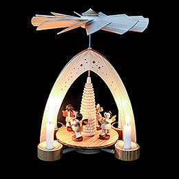 1-Tier Pyramid - Four Angels Natural with Wind Instruments - 26,5x21x16 cm / 10.4x8.6x6.3 inch