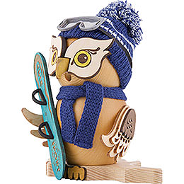 Smoker - Owl with Snow Board - 15 cm / 5.9 inch