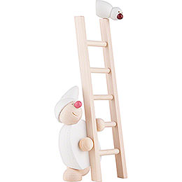 Wight with Ladder and Bird - White - 20 cm / 8 inch