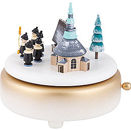 Music Box - Winter Villabe Seiffen with Carolers - White - 14 cm / 5.5 inch