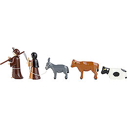 Peasants, Set of Five, Colored - 7 cm / 2.8 inch