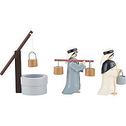 Water Carriers with Well, Set of Three, Colored - 7 cm / 2.8 inch