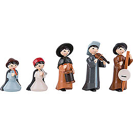 Musicians, Set of Five, Colored - 7 cm / 2.8 inch
