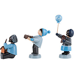 Winter Children with Gingerbread - 3 pcs. - blue - 7 cm / 2.8 inch