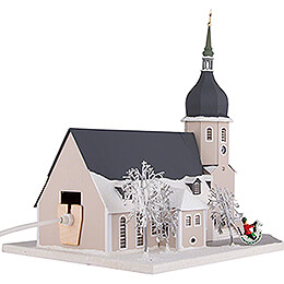Lighted House Church Olbernhau with Carolers - 36 cm / 14.2 inch