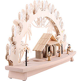 3D Candle Arch - 'Nativity' with Moving Figures - 68x43x16 cm / 27x17x6 inch