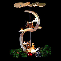 2-Tier S-Pyramid, Nativity and Angel - 46 cm / 18.1 inch