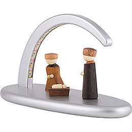 Modern Light Arch with LED - Nativity - silver - 24x13 cm / 9.4x5.1 inch