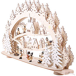 3D Candle Arch - 'Children in the Winter Village' - 66x40x11,5 cm / 26x16x5 inch
