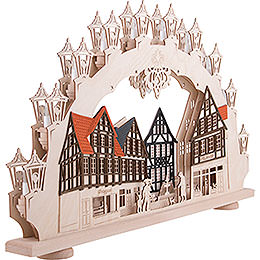 3D Candle Arch - Old Town - LED - 66x41x6 cm / 26x16x2 inch