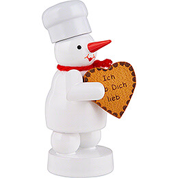 Snowman Baker with Gingerbread Heart - 8 cm / 3.1 inch