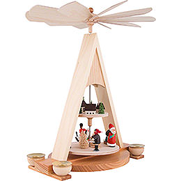 2-Tier Pyramid with Santa Claus and Seiffener Village Painted - 35 cm / 13.8 inch
