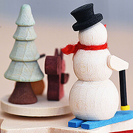 Music Box with Crank Snow Man - 7 cm / 2.8 inch