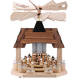 1-Tier Pyramid - Angels with Two Counter Rotating Winged Wheels - 41 cm / 16 inch