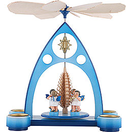 1-Tier Pyramid - Blue with Colored Angels and Wind Instruments - 39x30,6x19 cm / 7.5 inch