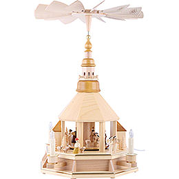 1-Tier Pyramid - Church of Seiffen, Natural Wood - 52 cm / 20.5 inch