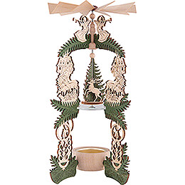 1-Tier Pyramid - Forest Lodge - Santa Claus, Deer and Angel - 26 cm / 10.2 inch