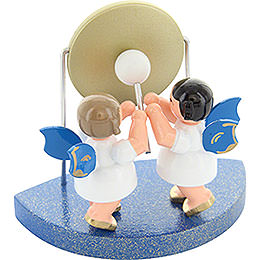 2 Angels with Big Gong Fitting Cloud Connector System - Blue Wings - Standing - 6 cm / 2,3 inch