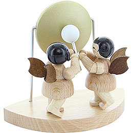 2 Angels with Big Gong Fitting Cloud Connector System - Natural Colors - Standing - 6 cm / 2,3 inch