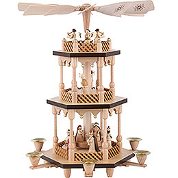 3-Tier Pyramid - Nativity Scene - Natural Wood - 38 cm / 15 inch