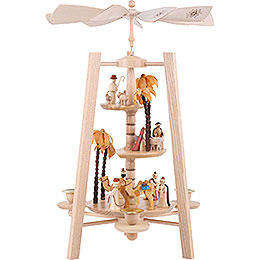 3-Tier Pyramid - Nativity Scene - Natural Wood - 40 cm / 16 inch