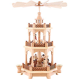 3-Tier Pyramid - Nativity Scene Natural Wood - 42 cm /16.5 inch