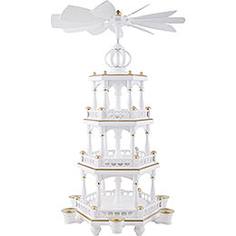 3-Tier Pyramid - without Figurines, White-Gold - 51 cm / 20 inch