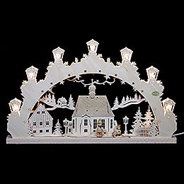 3D Candle Arch - Child with Sleigh - 52x31,5x4,5 cm / 20,5x12,5x2 inch